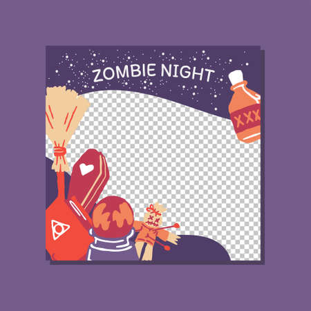 Halloween zombie night mysterious party promo sale web banner template with magic elements. broom, poison bottle, coffin, book, voodoo doll. Poster, banner, special offer with copyspace