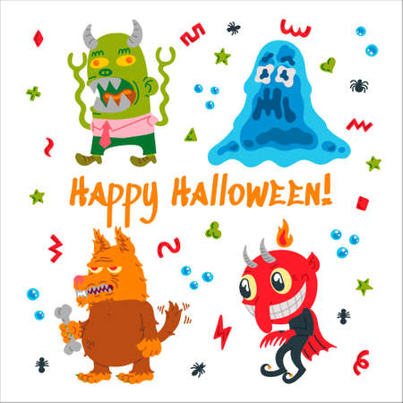 Halloween cartoon character set. Hand-drawn vector illustration with Monster, Slime Slug, Wolf, Devil and small patterns. Mystery, All Saints Day concept for halloween party, posters, greeting cards  イラスト・ベクター素材
