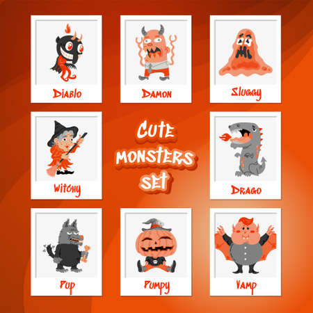 Halloween cartoon character set. Hand-drawn vector illustration with Monster, Slime Slug, Wolf, Devil, Pumpkin, Witch, Dragon, Vampire. Mystery, All Saints Day concept for halloween party, posters