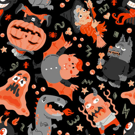 Halloween cartoon character seamless pattern. Hand-drawn vector illustration with Monster, Slime Slug, Wolf, Devil, Pumpkin, Witch, Dragon, Vampire. Mystery, For background, wallpaper, fabric, paper  イラスト・ベクター素材