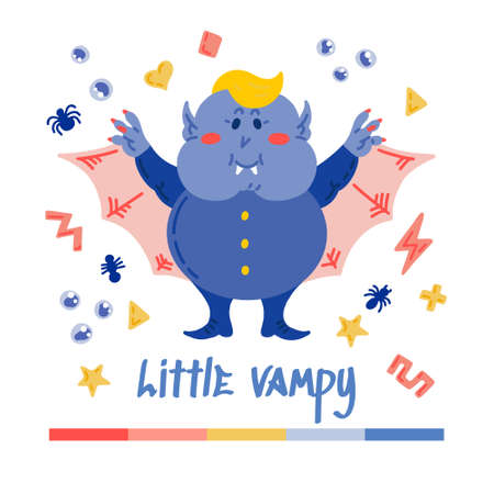 Halloween Cartoon Character Cute Little Chubby Vampire. Hand drawn vector illustration with a creature with Fangs and Wings and small patterns. For All Saints Day, Halloween, posters, greeting cards