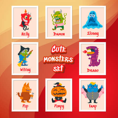 Halloween Doodle Character set. Hand Drawn vector illustration with Monster, Slime Slug, Wolf, Devil, Pumpkin, Witch, Dragon, Vampire. Mystery, All Saints Day concept for halloween party, posters