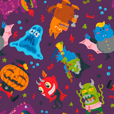 Halloween Doodle Character seamless pattern. Hand-drawn vector illustration with Monster, Slime Slug, Wolf, Devil, Pumpkin, Witch, Dragon, Vampire. Mystery, For background, wallpaper, fabric, paper