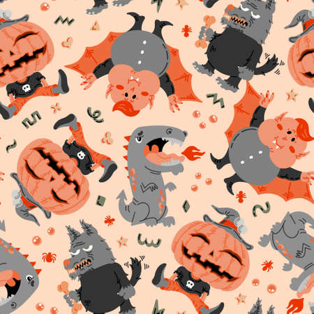 Halloween Cartoon Character seamless pattern. Hand-drawn vector illustration with Dark Wolf, Pumpkin Jack o Lantern, Witch, Grey Dragon, Cute Vampire. Mystery, For background, wallpaper, fabric, paper Vettoriali