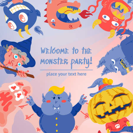 Halloween Doodle Character banner social media template with Copyspace. Hand drawn vector illustration Monster, Dragon, Slug, Wolf, Devil, Pumpkin, Vampire, Witch. Mystery, All Saints Day concept
