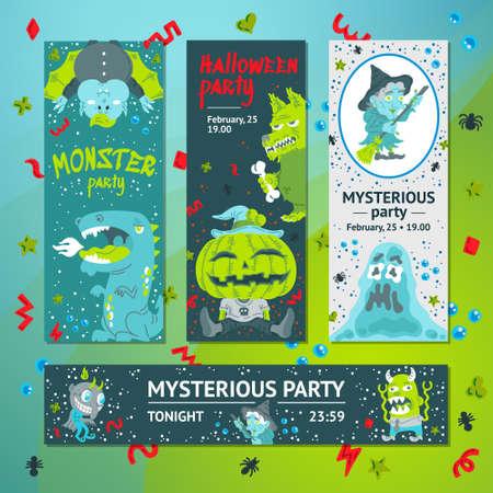 Halloween Doodle Character vertical, horizontal banner, header web template. Hand drawn vector illustration Monster, Dragon, Slug, Wolf, Devil, Pumpkin, Vampire, Witch. Mystery, All Saints Day concept Vettoriali