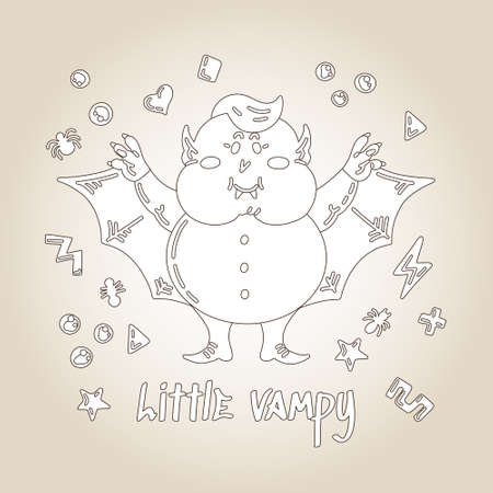 Halloween Doodle Character Cute Little Chubby Vampire. Hand-drawn vector illustration with a Creature with Fangs and Wings and small patterns. For Coloring Book, posters, greeting cards
