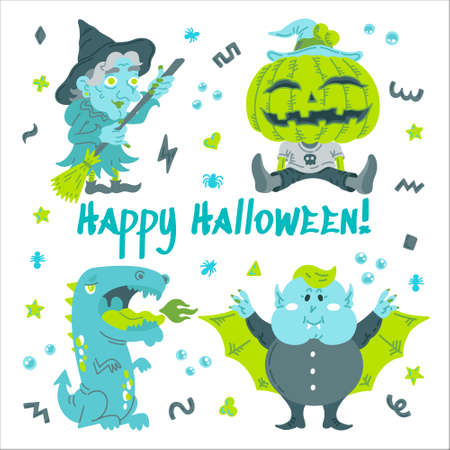 Monster Cartoon Character set. Handdrawn vector illustration with Pumpkin, Witch, Dragon, a Vampire and small patterns. Mystery, All Saints Day concept for halloween party, posters, greeting cards Vettoriali
