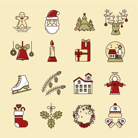 Christmas set of line art icons. Ginger cookies, Santa, Christmas trees, reindeer, bell, candle, gifts, glass ball, skates, cones, house, angel, sock, mistletoe, wreath, hat and mittens. Simple logo Illusztráció