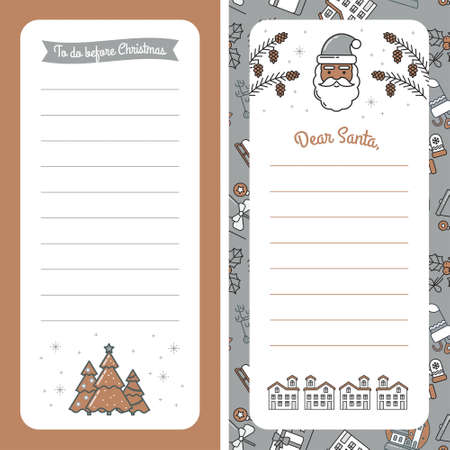Letter Template for Dear Santa or Christmas mail. Blank Letterhead with Space for Text and illustrations of Christmas Tree, Santa Claus, Pine cones and Winter House. For greetings and invitations