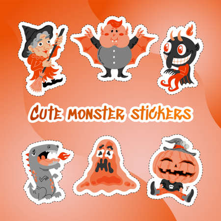 Monster Doodle Character Sticker Pack. Handdrawn vector illustration with Dragon and Fire, Slime Slug, Vampire, Devil, Pumpkin, Witch, All Saints Day concept for mystery party, sale banner, posters Stock Illustratie
