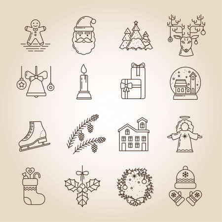 Christmas Collection of Line Art Icons. Gingerbread, Santa Claus, Christmas trees, Deer, Bell, Candle, Gifts, Snow Globe, Skates, Pine Cone, Home, Angel, Sock, Mistletoe, Festive Wreath, Hat, Mittens
