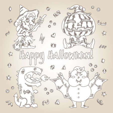 Monster Cartoon Character set. Handdrawn vector illustration with Pumpkin, Witch, Dragon, a Vampire and small patterns. Mystery, All Saints Day concept for halloween party, posters, greeting cards Stock Illustratie