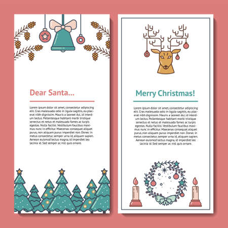 Paper Design Template for Santa or Christmas mail. Letterhead with Copy Space for Text and illustrations of Bell, Pine Cone, Christmas Tree, Deer, Wreath and Candle. For greetings and invitations