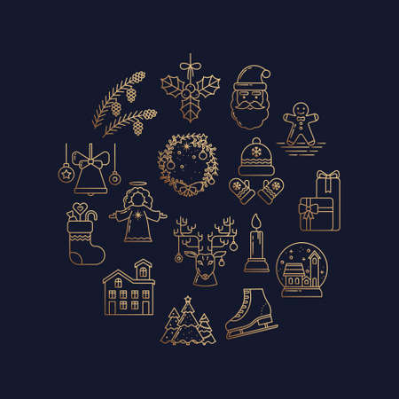 Holiday Circle Gold and Blue Collection of Line Art Icons. Gingerbread, Santa Claus, Christmas tree, Reindeer, Bell, Candle, Gift, Skates, Pine Cone, Home, Angel, Mistletoe, Wreath, Hat and Mitten Illusztráció