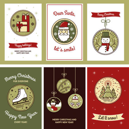 Cute Christmas Card Set with Gifts, Santa, Snowman, Skates, Christmas Tree, Pine Cone, Sock, Hat and Mittens. Tags for Gifts, Template for Mailing, Design. Modern collection of vector illustrations
