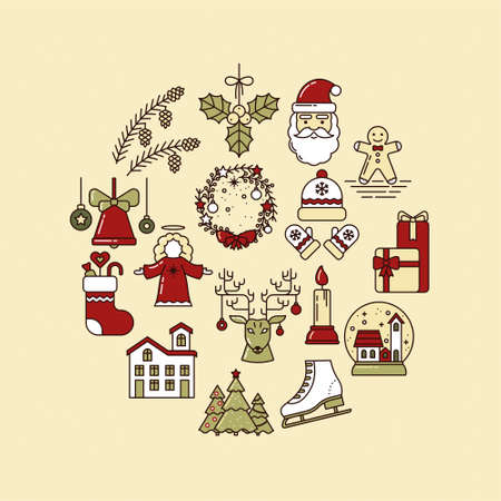Holiday Round Collection of Line Art Icons. Gingerbread, Santa Claus, Christmas tree, Reindeer, Bell, Candle, Gifts, Skates, Pine Cones, Home, Angel, Sock, Mistletoe, Festive Wreath, Hat and Mittens