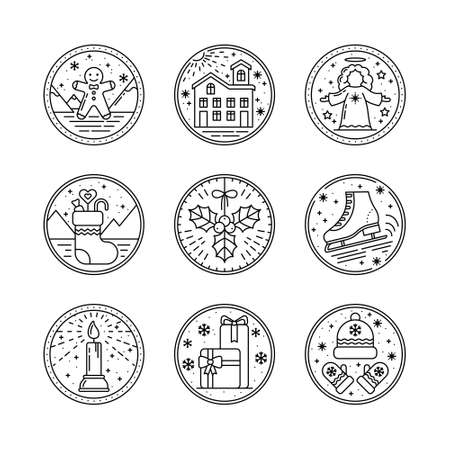 Merry Christmas Set Circle Line Art Icon with Elements. Gingerbread, Snow Home, Angel, Sock with Gifts, Mistletoe, Skates, Candle, Mittens. Logo for Invitation, Greeting, Tag, Postcard, Mailing list