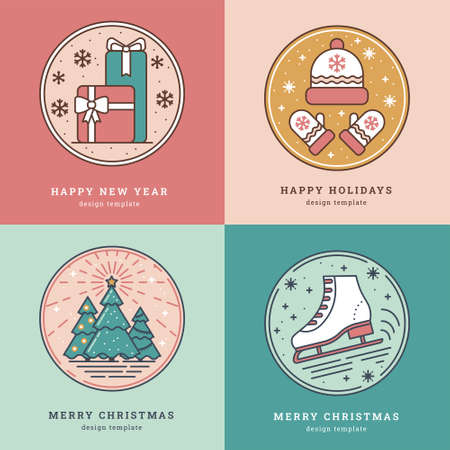 Set of Greeting Cards with Icon, Symbol of New Year and Christmas. Gift Package, Hat and Mittens, Christmas Trees and Skates with Snowflakes. Pastel colors. Template for Tags, Greeting Card, Sticker