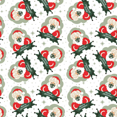 Isolated Christmas Seamless Pattern of Santa Claus in a Medical Mask with a Beard, Hat and New Year Costume with Ribbon. For Wrapping Paper, Background, Gifts to Covid-19 period
