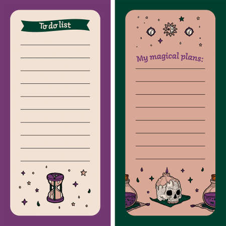 To Do List. Magic Notebook for Cases with Witch Elements. To record Plan, List, Milestone. Childrens Planner. Hourglass, Human Skull, Bottle of Poison or Potion, Moon and Sun, Star. Etched Retro Style  イラスト・ベクター素材