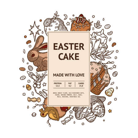 Rustic Easter Cake Package as vector image. Finished Label with Design Template Elements. Kulich with Orange or Lemon, Seeds, Leaf, Berries, Candle, Duck, Colored Eggs with Patterns on Plate and Candy