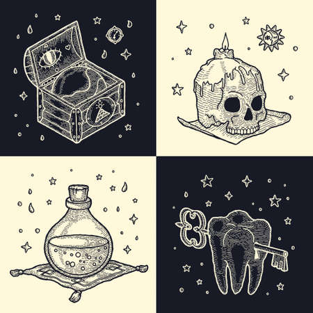 Vector Boho and Gypsy Element Set Mystical symbols of magic practices. Human Skull and Candle, Wooden Chest and Globe, Hourglass, Glass Bottle of Poison Potion and Tooth with Keyhole and Ancient Key Векторная Иллюстрация