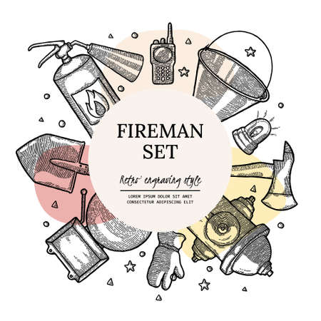 Firefighting Vintage Elements Design Template with Circle Copyspace in center. fireman tools vector illustration. Rescue equipment isolated. For Banner, Social Media, Poster, Cover. Monochrome