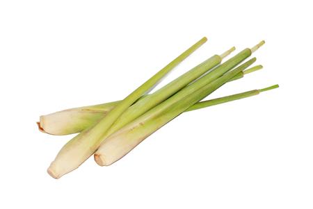 Fresh lemongrass on white background
