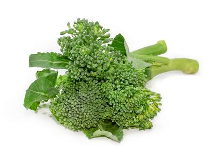 rapini,broccoli rabe isolated on white