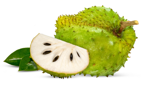 Corossol, Prickly Custard Apple isolated on white Banque d'images