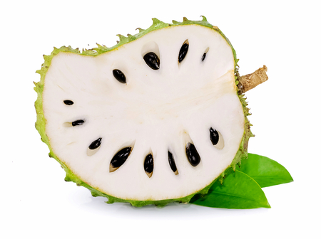 Fresh soursop isolated on white background