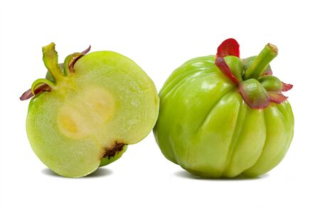 Garcinia atroviridis fruit isolated on white background