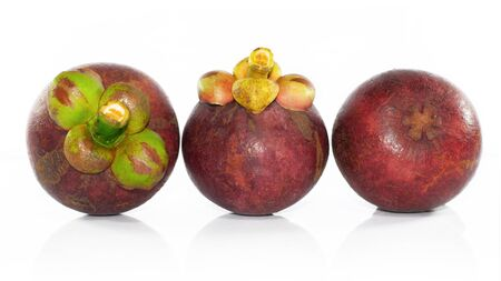 Group of mangosteen  fruit isolated on white background Stock Photo