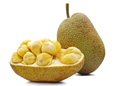 Fresh jackfruit cut out isolated on white background 免版税图像