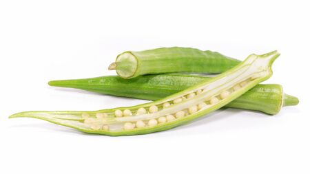 Single object of okra vegetable isolated on white background