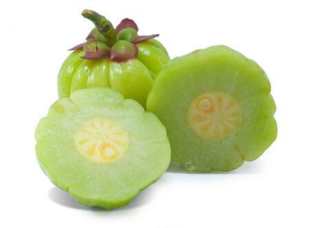 Garcinia atroviridis fruit isolated on white background