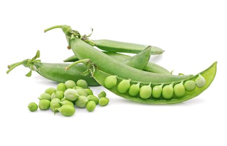 Green Peas isolated on white background Stock Photo