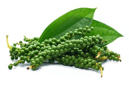 Fresh green piper nigrum isolated on white background