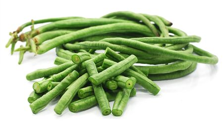 Chinese long beans isolated on white background