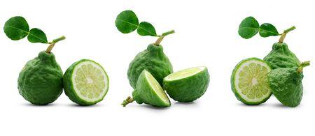 Fresh bergamot fruit isolated on white background