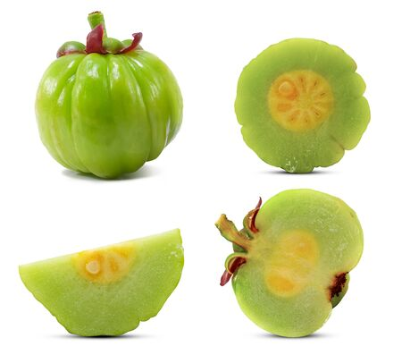 Garcinia atroviridis fruit isolated on white background 免版税图像 - 133665288