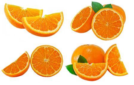 Fresh orange fruit isolated on white