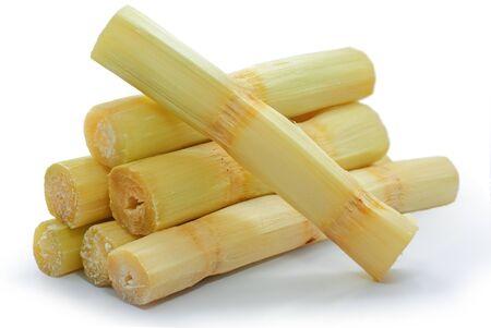 Singolo oggetto di canna da zucchero isolato su sfondo bianco