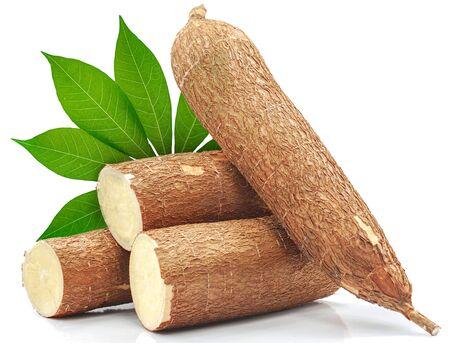 Racine de manioc isolé sur fond blanc Banque d'images