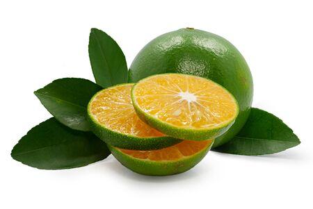 Fresh Green orange Fruit isolated on white background