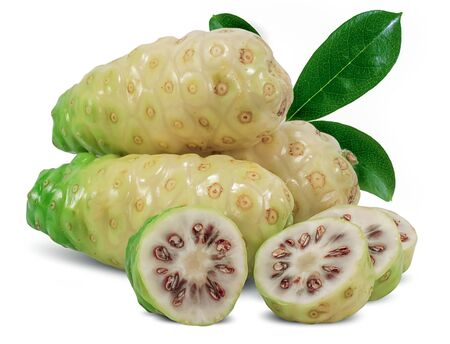 Noni or Morinda fruits isolated on white background Stockfoto