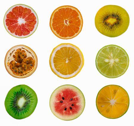 Set di frutti dolci isolati su sfondo bianco Archivio Fotografico