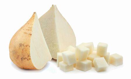 Jicama root isolated on white background