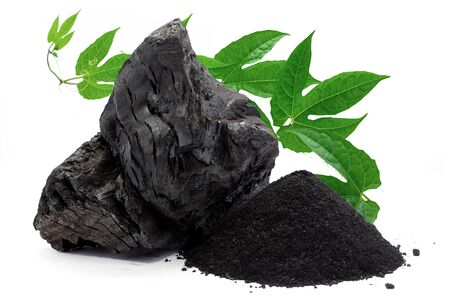 Charcoal or Coal isolated on white background 写真素材